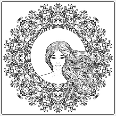 Young beautiful girl with long hair in rich decorated floral patterned frame. Stock line vector illustration. Outline drawing. Outline hand drawing coloring page for adult coloring book. Ilustração