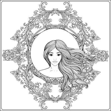 Young beautiful girl with long hair in rich decorated floral patterned frame. Stock line vector illustration. Outline drawing. Outline hand drawing coloring page for adult coloring book. Illustration