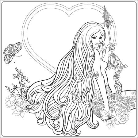 Jong mooi meisje met lang haar met pijl en rozen. Voorraad