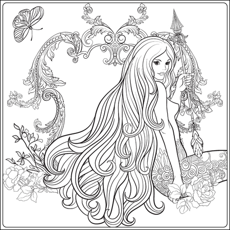 Young beautiful girl with long hair with arrow and roses. Stock Illustration