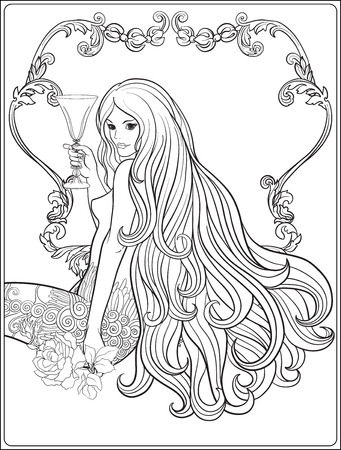 Young beautiful girl with long hair with a glass of wine in deco
