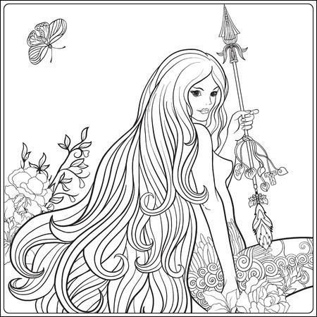 Jong mooi meisje met lang haar met pijl en rozen. Stock Illustratie