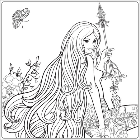 Young beautiful girl with long hair with arrow and roses. Illustration