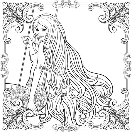 Jong mooi meisje met lang haar op schommel in roostuin. Sto