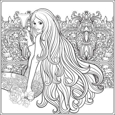 Jong mooi meisje met lang haar met een glas wijn in deco