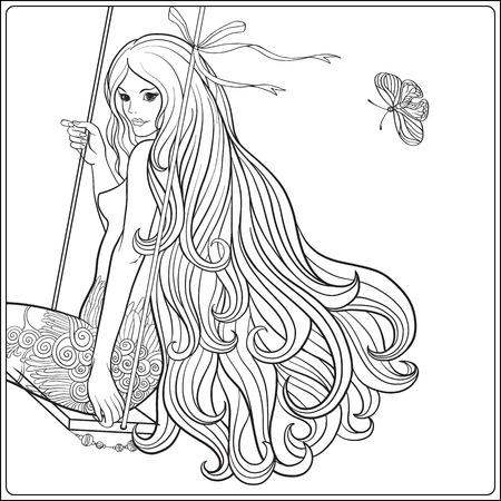 Young beautiful girl with long hair on swing in rose garden. Sto