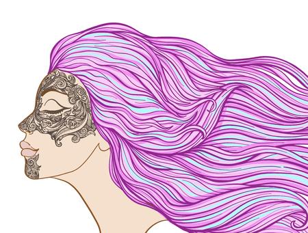 Jong mooi meisje met lang haar in profiel met traditionele