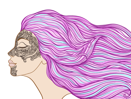 Young beautiful girl with long hair in profile with traditional Illustration