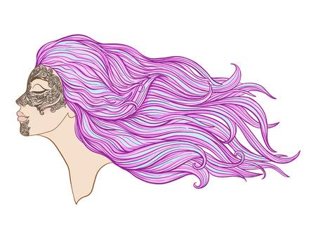 Junges schönes Mädchen mit dem langen Haar im Profil mit traditionellen Tätowierungen der Maorileute auf dem Gesicht. Auf lagerlinie Vektorillustration. Standard-Bild - 87284656