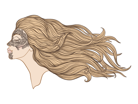 Young beautiful girl with long hair in profile with traditional tattoos of the Maori people on the face. Stock line vector illustration. Ilustracja