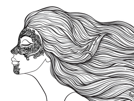 Junges schönes Mädchen mit dem langen Haar im Profil mit traditionellen Tätowierungen der Maorileute auf dem Gesicht. Auf lagerlinie Vektorillustration. Standard-Bild - 87284658
