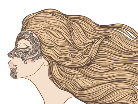 Young beautiful girl with long hair in profile with traditional tattoos of the Maori people on the face. Stock line vector illustration. Иллюстрация