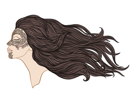 Young beautiful girl with long hair in profile with traditional tattoos of the Maori people on the face. Stock line vector illustration. Фото со стока - 87284660