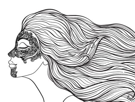 Junges schönes Mädchen mit dem langen Haar im Profil mit traditionellen Tätowierungen der Maorileute auf dem Gesicht. Auf lagerlinie Vektorillustration. Standard-Bild - 87284661
