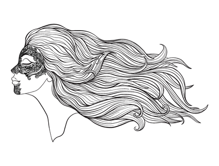 Young beautiful girl with long hair in profile with traditional tattoos of the Maori people on the face. Stock line vector illustration. Фото со стока