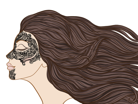 Young beautiful girl with long hair in profile with traditional tattoos of the Maori people on the face. Stock line vector illustration. Illustration