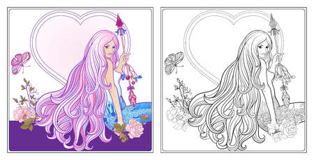 royal person: Young beautiful girl with long hair with arrow and roses. Illustration