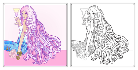 royal person: Young beautiful girl with long hair with glass of wine.