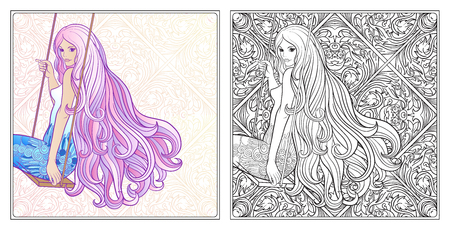 Young beautiful girl with long hair on swing. Illustration