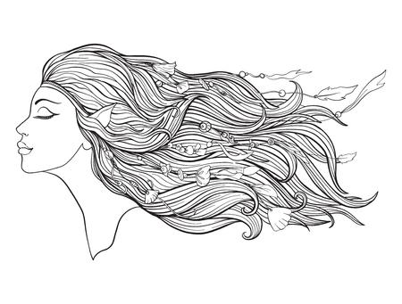 Junges schönes Mädchen mit Elfenohren und langem Haar und Perlen auf einem weißen Hintergrund. Standard-Bild - 87284673