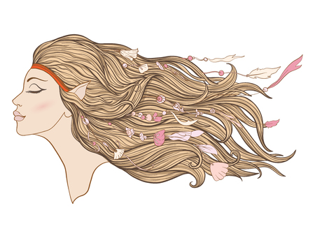 Young beautiful girl with long pink hair and beads from sea shell.