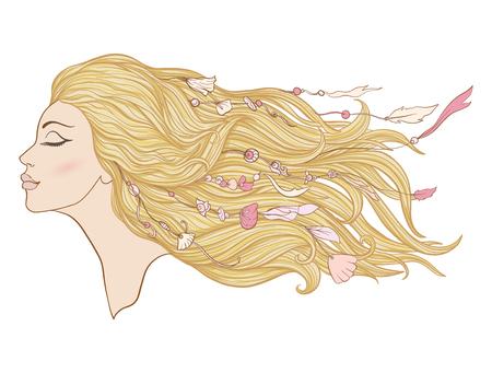 Junges schönes Mädchen mit dem langen rosa Haar und den Perlen vom Seeoberteil. Standard-Bild - 87284676