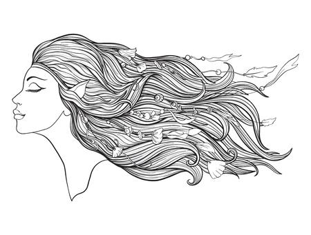 Junges schönes Mädchen mit Elfenohren und langem Haar und Perlen auf einem weißen Hintergrund. Standard-Bild - 87284677