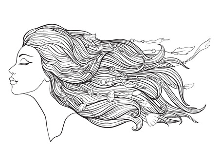 Young beautiful girl With elve ears and long hair and beads on a white background. Illustration