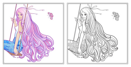 royal person: Young beautiful girl with long hair on swing. Illustration
