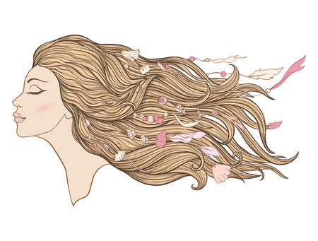 Junges schönes Mädchen mit dem langen rosa Haar und den Perlen vom Seeoberteil. Standard-Bild - 87284683