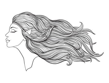 Young beautiful girl With elve ears and long hair on a white background. Illustration
