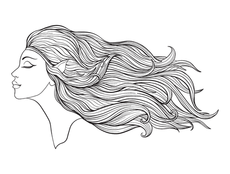 Young beautiful girl With elve ears and long hair on a white background. Иллюстрация