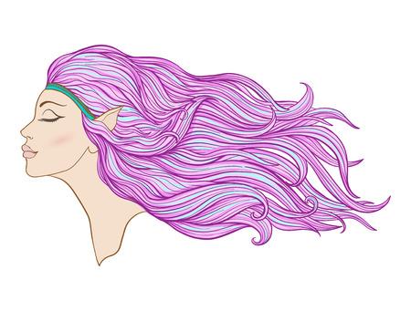 Junges schönes Mädchen mit den Elfenohren und dem langen Haar im Profil. Standard-Bild - 87284687