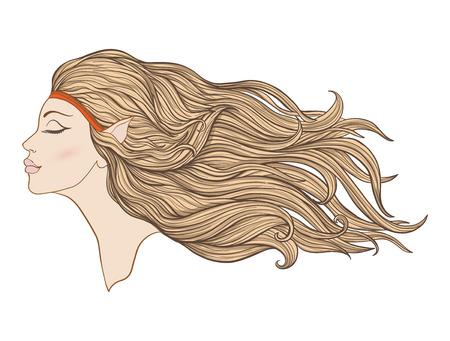 Jong mooi meisje met elf oren en lang haar in profiel.
