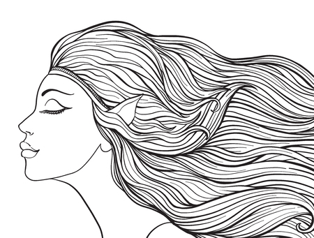 Junges schönes Mädchen Mit den Elfenohren und dem langen Haar. Standard-Bild - 87284690