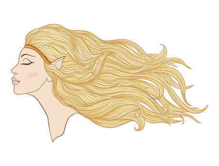 Young beautiful girl with elve ears and long hair in profile.