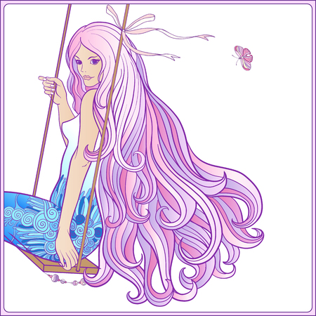 royal person: Young beautiful girl with long hair on swing on a white background. Illustration