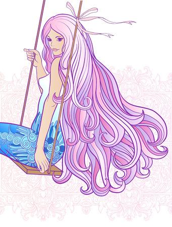 Jong mooi meisje met lang haar op schommel op een witte achtergrond.