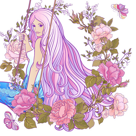 Young beautiful girl with long hair on swing on a white background. Illustration