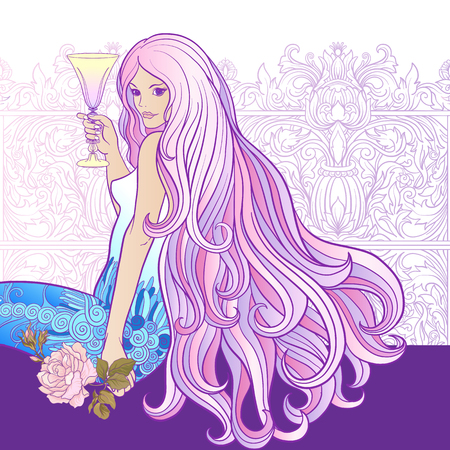 royal person: Young beautiful girl with long hair with glass of wine on a white background.
