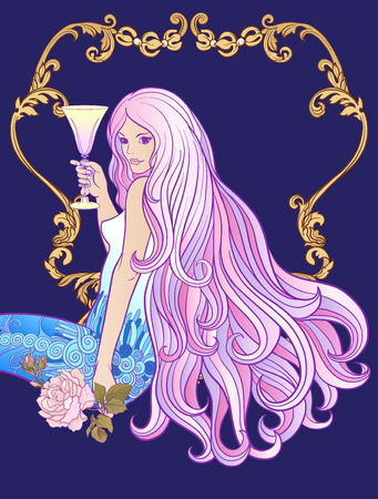 Young beautiful girl with long hair with glass of wine in rich d