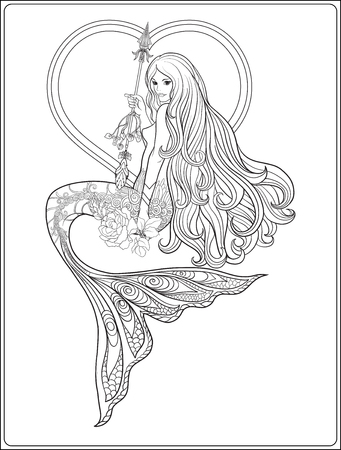 Hand drawn mermaid with long hair. Stock line illustration