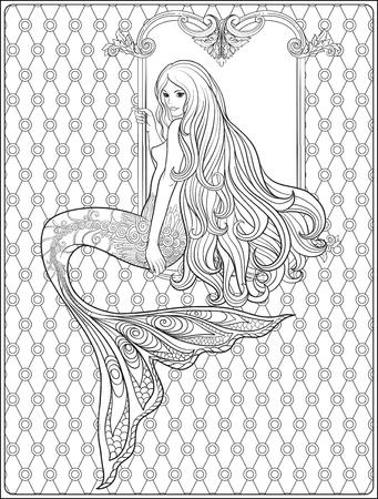手は長い髪の人魚を描いた。ストック ラインのベクトル図  イラスト・ベクター素材