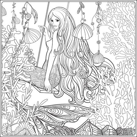 Hand drawn mermaid with long  hair in underwater world. Stock li