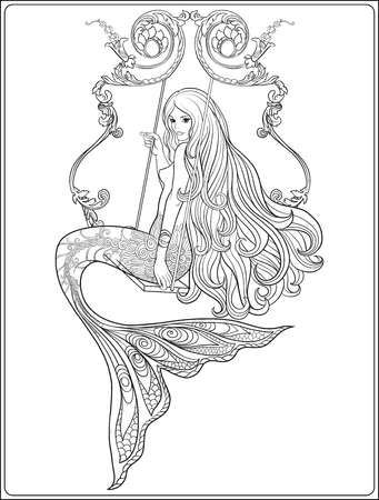 rose tattoo: Hand drew mermaid with long hair. Stock line vector illustration