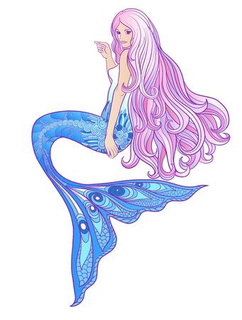 長いピンクの髪手描画マーメイド。在庫線図。  イラスト・ベクター素材