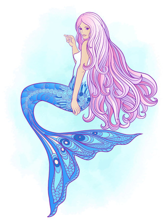 Hand drawn mermaid with long pink hair. Stock line illustration.