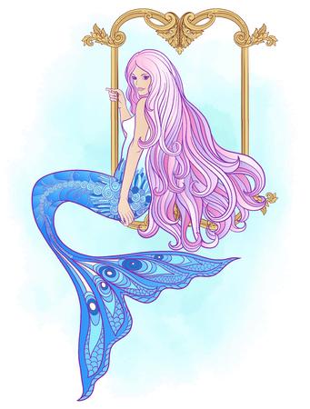 手は、長いピンクの髪の人魚を描いた。株式ベクトル図