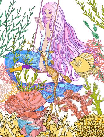 手は、水中の世界で長いピンクの髪の人魚を描いた。ストック ライン ベクトル イラスト。