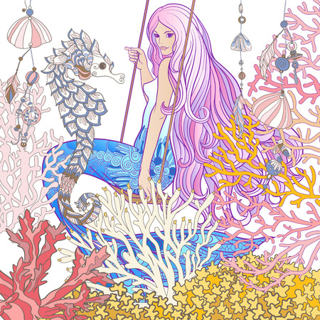 Hand drew mermaid with long pink hair in the underwater world. Stock line vector illustration. Çizim